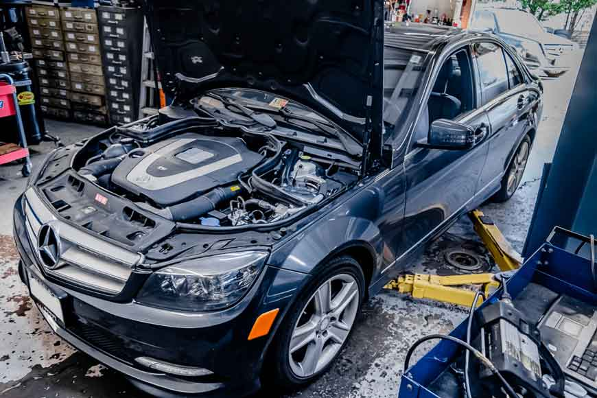 Mercedes Benz vehicle being serviced and repaired at In Motion Motors - A Leesburg VA Mercedes Benz Service Center